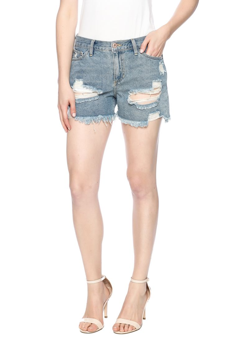 Medium wash denim boyfriend shorts with distressed detailing, frayed hem, mid rise and a zip fly closure.  Ciara Boyfriend Shorts by Sneak Peek. Clothing - Shorts - Denim Miami, Florida