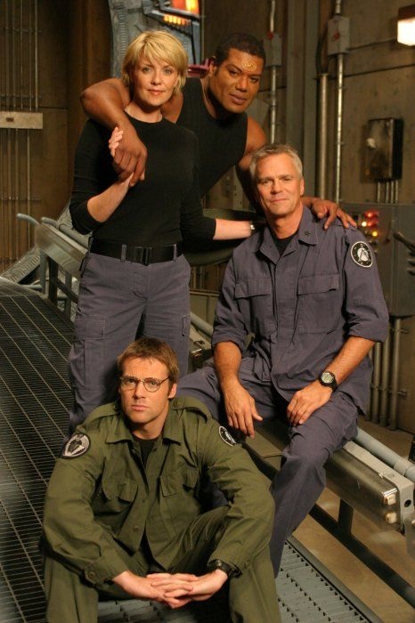 """""""Stargate"""", Amanda Tapping, Christopher Judge, Michael Shanks, and Richard Dean Anderson"""