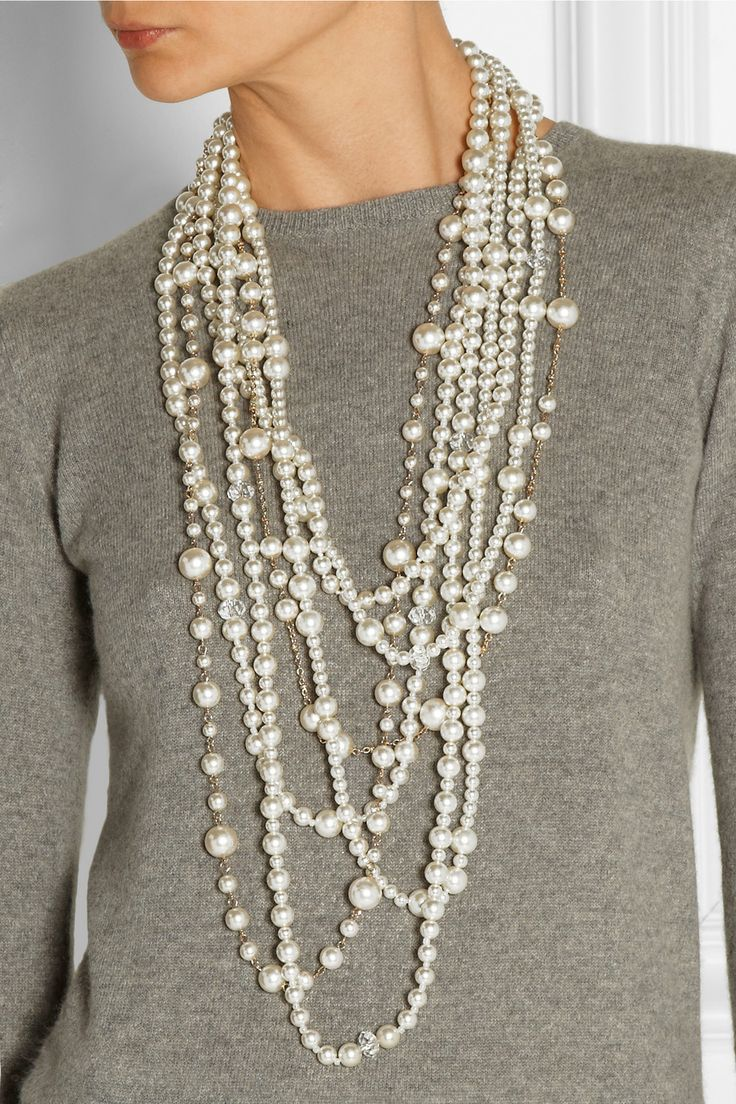 Kenneth Jay Lane | Gold-plated, crystal and faux pearl necklace | NET-A-PORTER.COM $295