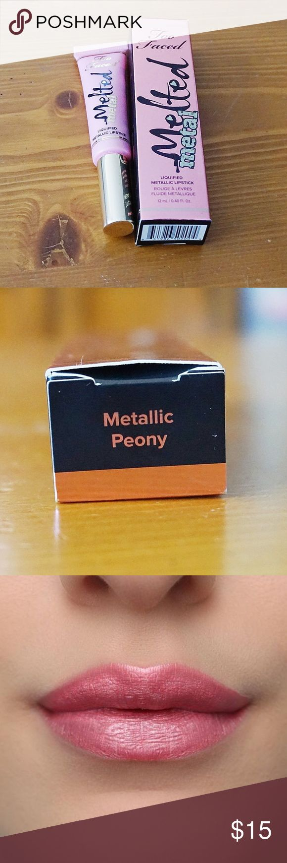 Too Faced Melted Metal Melted Peony Lipstick Too Faced Melted Metal Melted Peony Lipstick. Full Size. New in Box. Really pretty pink lipstick with metallic sheen.  Offers Welcome Bundle for a Discount Ships 1-3 Days Too Faced Makeup Lipstick