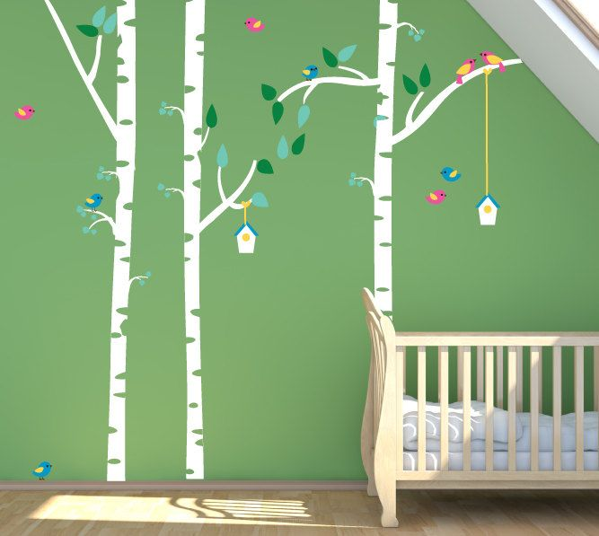 Studio Wall Art decals are eco-friendly, extremely thin removable / reusable / repositionable decals. Just peel and stick!! Reuse, remove, reposition!! The colors are brilliant and the decals look like they are painted on the wall!   Three Birch trees with Leaves and Birds (measurement in inches) Trunks, branches and leaves come separate so you can place as you wish. The branches can be trimmed to fit your space. The tree trunks measure 98 tall x 4 wide, with branches placed the tre...