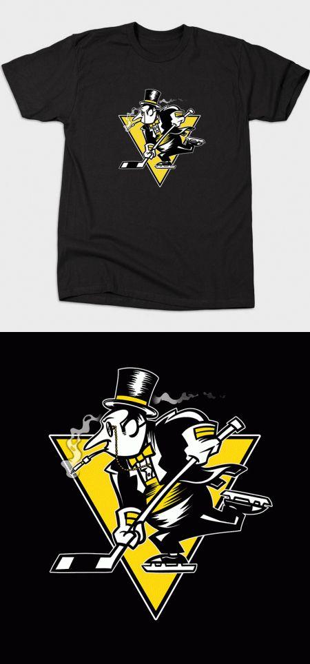 Pittsburgh Penguins Batman T Shirt | One of Gotham's villains on an NHL hockey team logo. Brilliant mashup! | Visit http://shirtminion.com/2015/10/pittsburgh-penguins-batman-t-shirt/