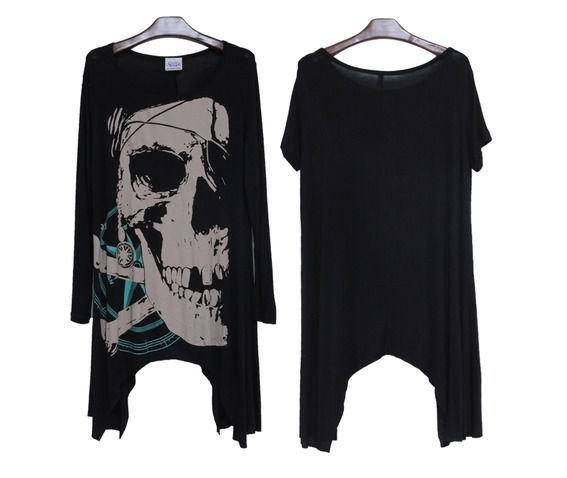 Black skull loose t shirt top t shirts 5