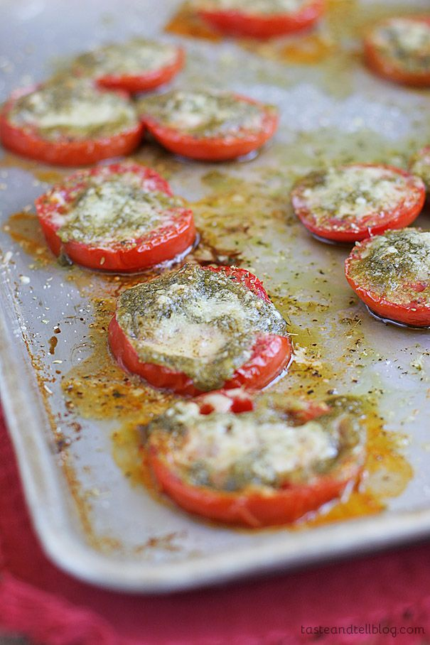 Roasted Tomatoes with Pesto - Fresh tomatoes roasted with pesto and parmesan cheese for a delicious appetizer or side dish. Easy to make too.