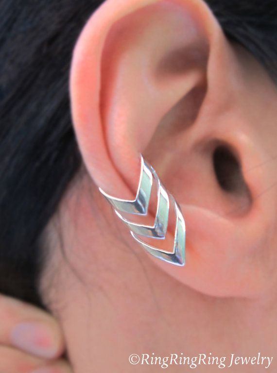 Triple chevron ear cuff Sterling Silver earrings Arrow jewelry Chevron earrings Sterling silver ear cuff clip for men & women C-197