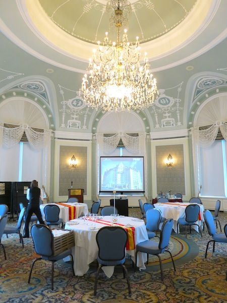 The beautiful Wedgewood Room in the Fairmont Hotel Macdonald