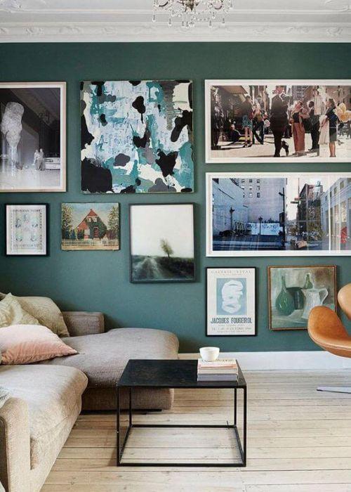 wohnzimmer petrol grün: Wandfarbe, Wandgestaltung Wohnzimmer und Wohnzimmer Sessel
