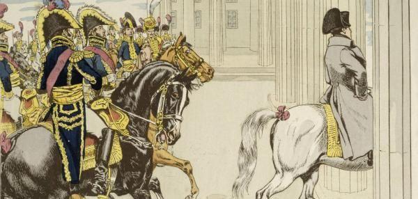 Als Triumphator ritt Frankreichs Kaiser Napoleon am 27. Oktober 1806 durch das Brandenburger Tor in die preußische Residenz Berlin – über den späteren Pariser Platz. Die Geste war als Demütigung gedacht.