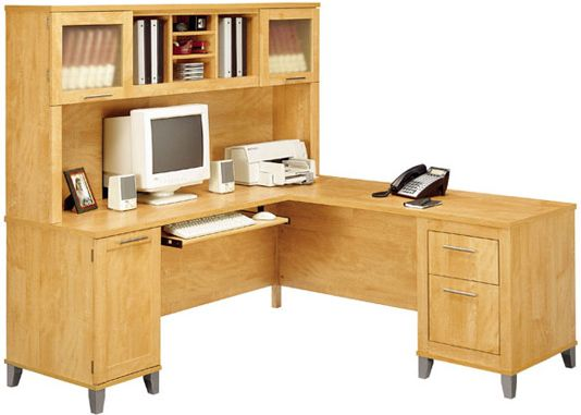 lshaped wood desk with hutch and glass cabinets