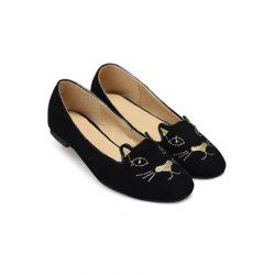 $12.60 Casual Women's Flat Shoes With Cheap Sweet Cat Round Toe Design
