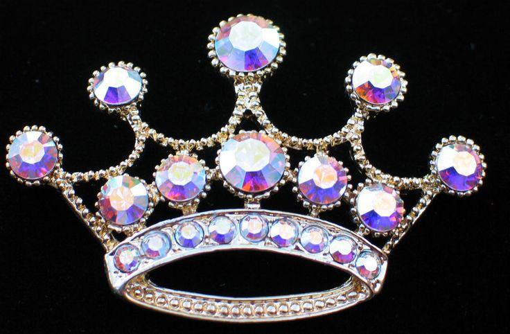 "GOLD AB RHINESTONE WEDDING PRINCESS TIARA BEAUTY PAGEANT CROWN PIN BROOCH 2.5"" #Unbranded #PINBROOCHJEWELRY"