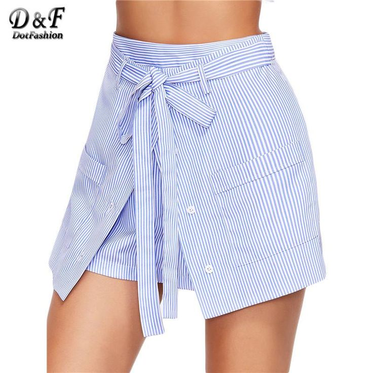 Shorts for Beach Summer Streetwear Shorts for Women Blue Striped Buttoned Overlap Front Belted Shorts
