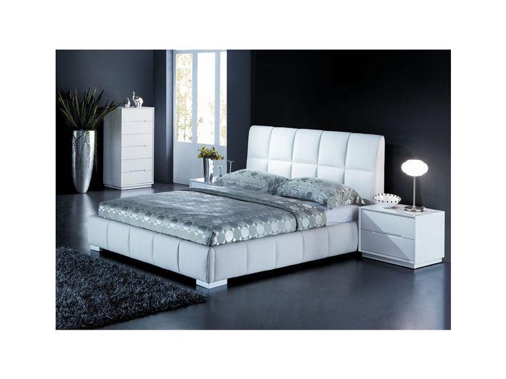 Lit DELANO - PU blanc - 160x200cm