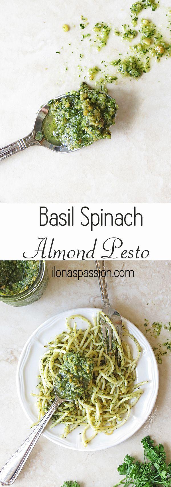 Basil Spinach Almond Pesto by http://ilonaspassion.com #pesto #basil #spinach…