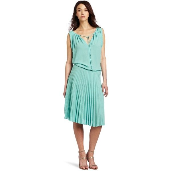 BCBGMAXAZRIA Women's Lona Draped Bodice Dress with Pleated Skirt ($62) ❤ liked on Polyvore featuring dresses, blue cocktail dress, round neck dress, blue pleated dress, cutout dress and pleated cocktail dress