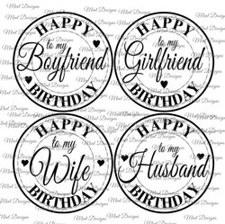 Happy Birthday digi stamp set  Circle sentiment stamps  To my Boyfriend  To my Girlfriend  To my Wife  To my Husband  on Craftsuprint - View Now!
