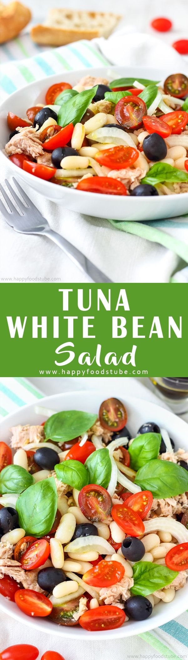 This tuna white bean salad is perfect for picnics or quick lunch. If you love Mediterranean food, you will enjoy this super easy recipe. Healthy Mediterranean diet recipe via @happyfoodstube