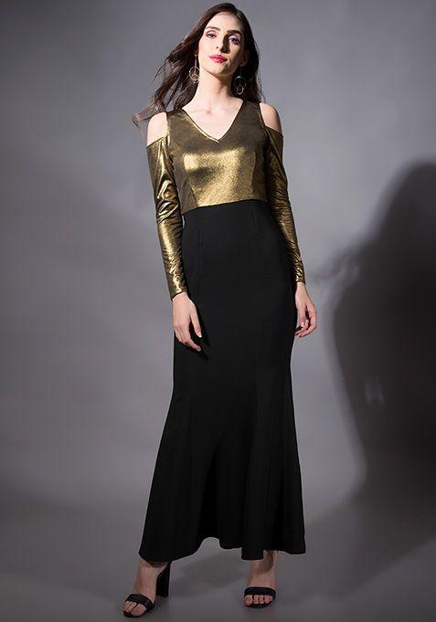 c654153d9 Gold Cold Shoulder Mermaid Maxi Dress  Fashion  FabAlley  PartyWear   WeddingWear  MaxiDress  Maxi  Party  GoingOutAttire  ColdShoulder   GoingOutDresses   ...
