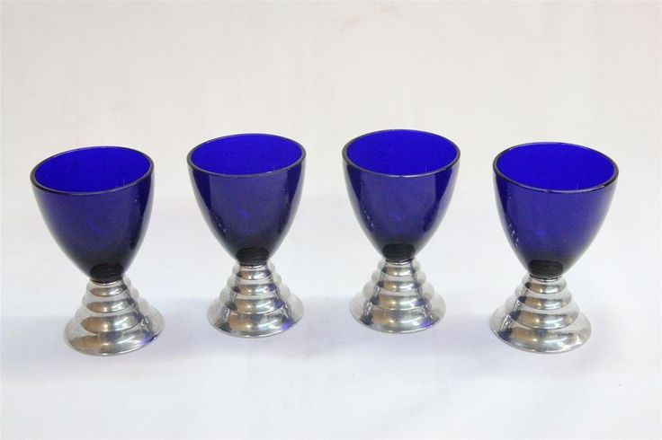 4 Art Deco Chrome Chase Blue Moon Spiral Industrial Cocktail Glasses