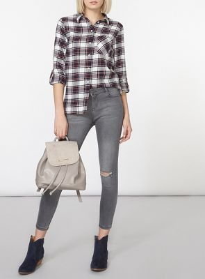 Dorothy Perkins Pale grey rip darcy ankle grazer trousers | Debenhams