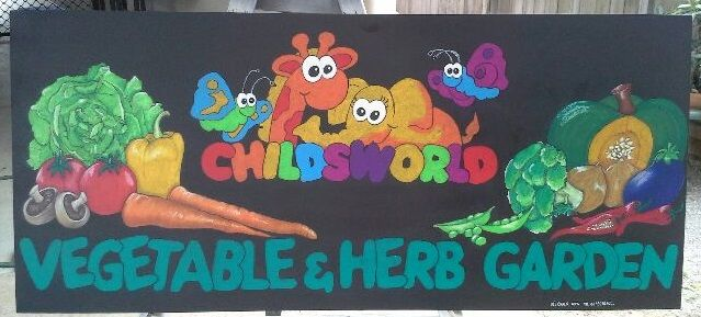 This Chalk Art Blackboard is the first of 3 Vegetable & Herb Garden Signs created for Childsworld, Cairns. Fully Sealed, Smudgeproof and weather resistant.