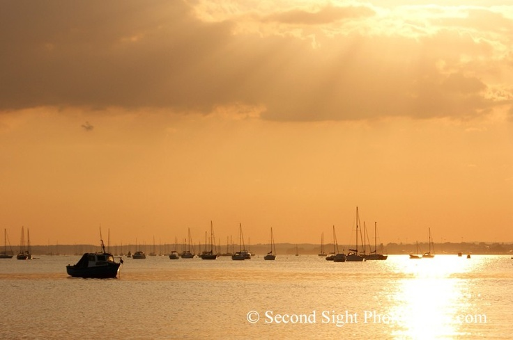 Poole Harbour from the Sandbanks Peninsular, Dorset. Combines 3 favourites, living in Poole, the sea and sunset. Beautiful