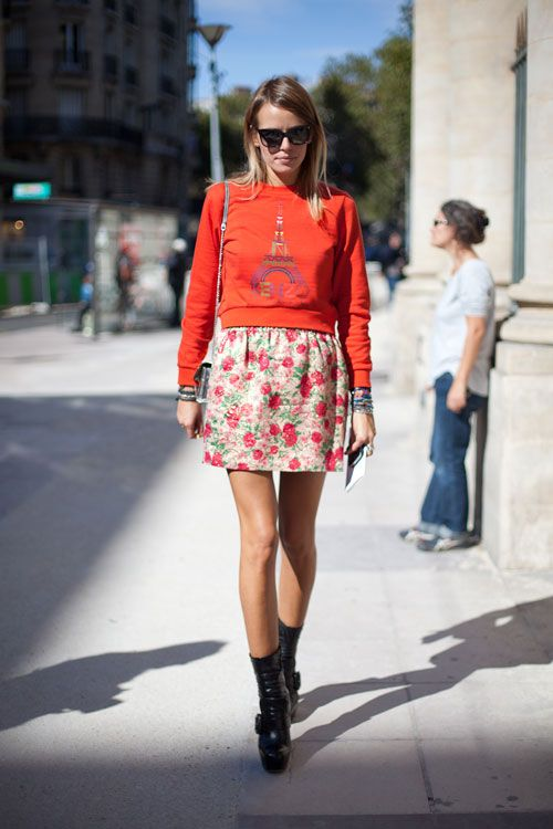 Paris Fashion Week Street Style 2013 -Small Sweatshirt and floral skirt.