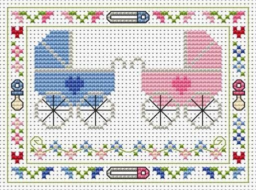 image Kit Twins Cross Stitch Card Bienvenue