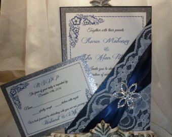 """Encaje de la boda, invitación de boda azul marino (muestra) - """"La eternidad"""""""