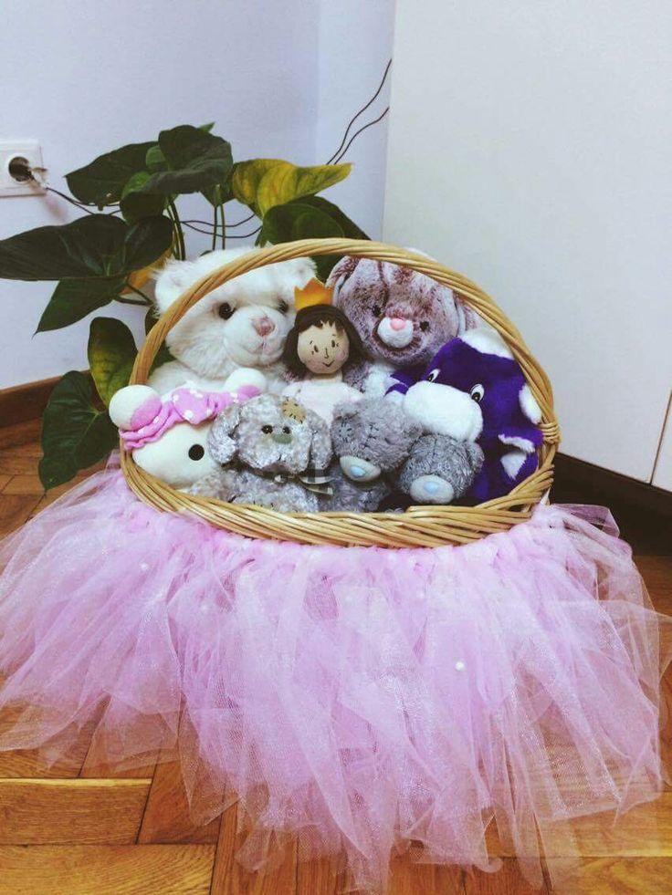 Baby shower decor Baby toys Basket with tutu Tutu dress