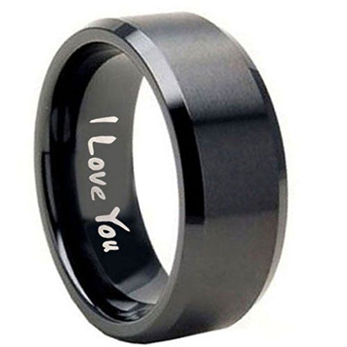 10mm tungsten carbide i love you matte black flat top engraved ring size 8 tungstenmen http tungsten rings for menmens wedding - Black Mens Wedding Ring