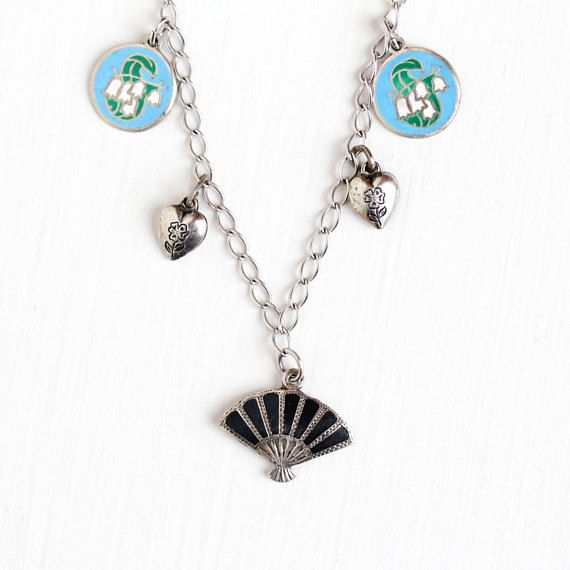 Sale - Vintage Sterling Silver Puffy Heart Flower & Siam Charm Bracelet - 1940s Lily Of The Valley Blue Enamel Niello Asian Pagoda Jewelry by Maejean Vintage on Etsy