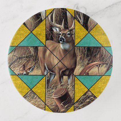 Quilt Pattern Print Deer Crossing Trinket Trays - rustic country gifts style ideas diy