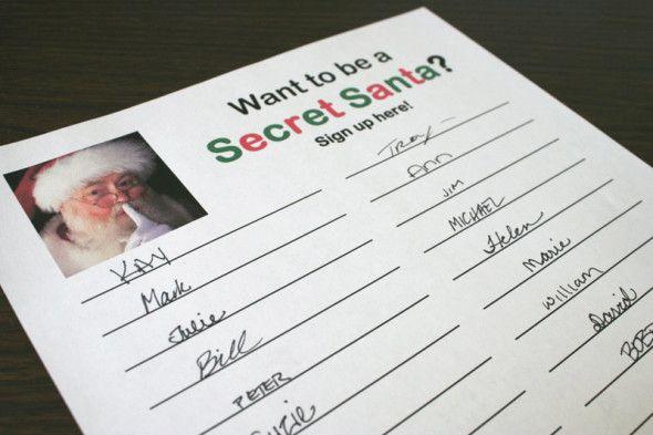 Secret Santa sign-up sheet