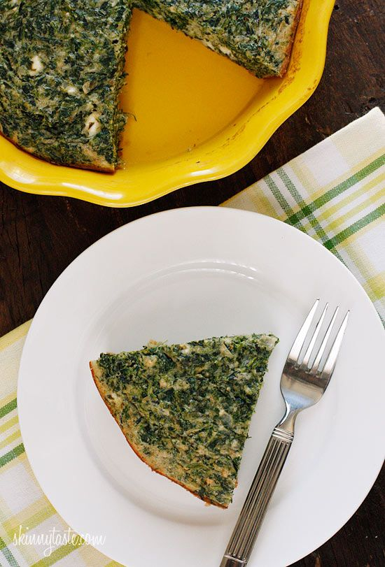 Easy Crust-less Spinach and Feta Pie - Served with a salad, you can turn this into a main dish, or cut it into smaller wedges to serve as an appetizer.  #vegetarian