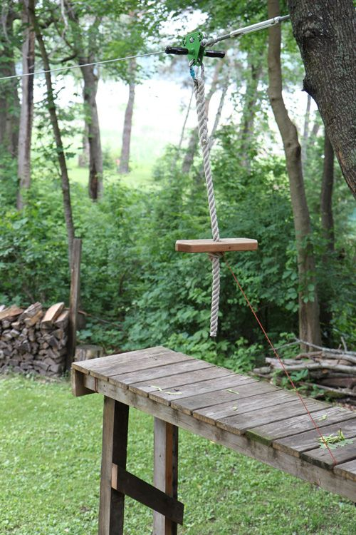 zip-line in the backyard when you have a slope!