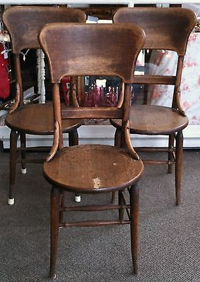Three Circa 1930 Thonet Style Oak Bentwood Chairs