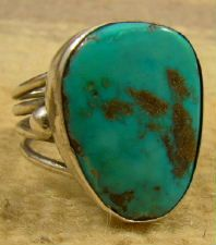 Item # 722E-Vintage Navajo Turquoise Ring Sz 10 3/4 —Native American Mens Turquoise Rings- EAGLE ROCK TRADING POST-Native American Jewelry