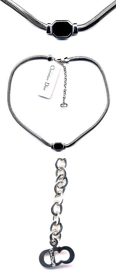 Necklaces and Pendants 165893: Signed Christian Dior Necklace Rhodium With Jet Black Crystal Pendant Dior Logo -> BUY IT NOW ONLY: $95 on eBay!