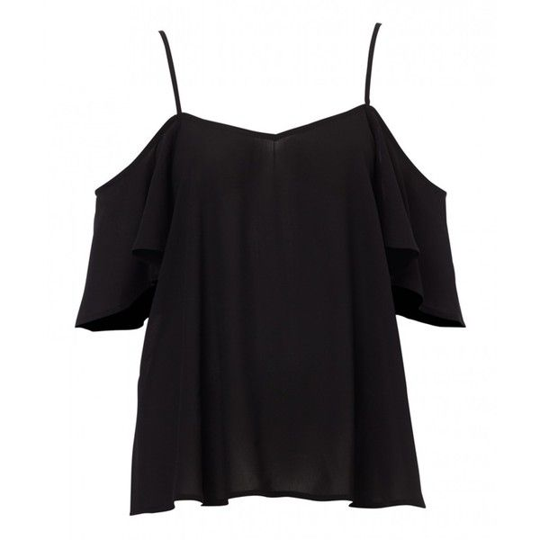 COLD SHOULDER TOP ($43) ❤ liked on Polyvore featuring tops, shirts, blusas, cut out shoulder tops, black shirt, open shoulder top, cutout shoulder top and black woven shirt