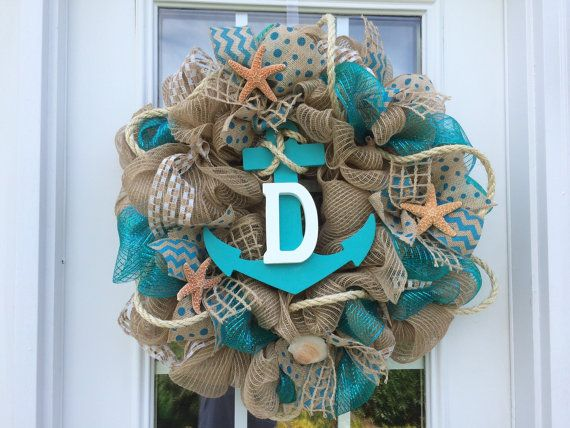 Summer deco mesh wreath,burlap nautical wreath, beach wreath,front door beach wreath, nautical wreath