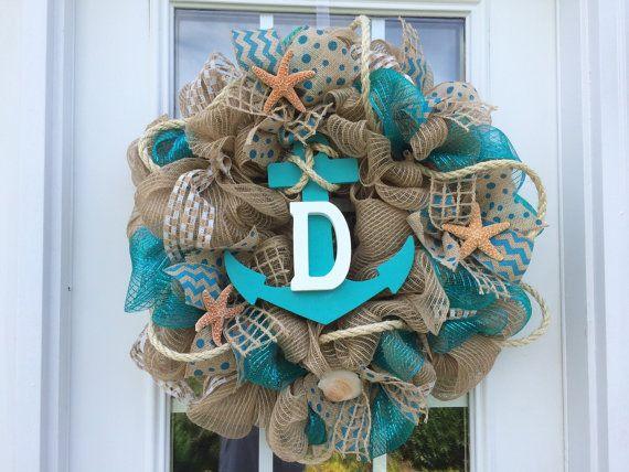 Summer deco mesh/burlapbeach/nautical/shell by ShellysChicDesigns, $75.00
