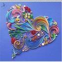 Fantázia szív kék, Dekoráció, Otthon, lakberendezés, Kép, Falikép, Papírművészet, Meska