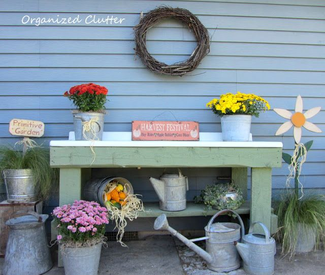 Early fall potting bench
