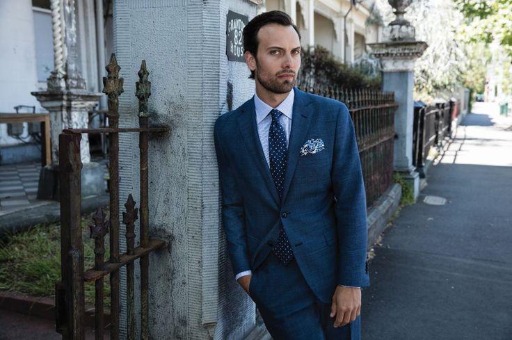 Dollfus blue suit; Rutland blue shirt; Puntini navy/silver tie; Jaime blue hankie.
