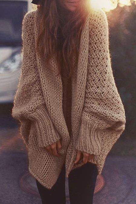 Solid Color Knitted Loose Fitting Batwing Sleeves Cardigan More