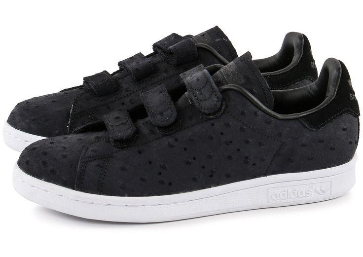 promo code 04ba5 16afd ... Chaussures adidas Stan Smith Cf Velcro noire vue extérieure