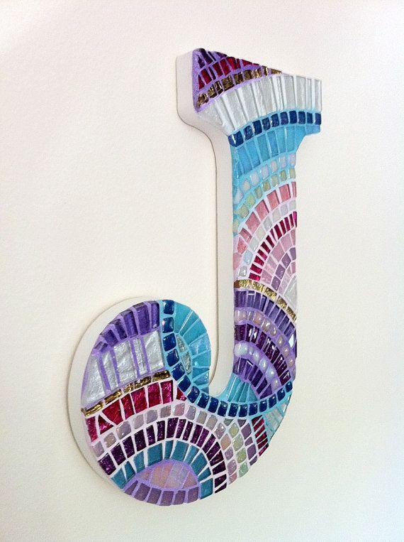 Mosaic Initial Mosaic Letter Pink Teal Purple Mosaic Art Keepsake Custom Letter Monogram