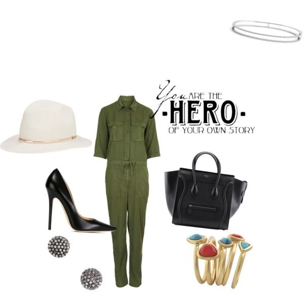lady in the army by carlifornia101 on Polyvore featuring polyvore fashion style Jimmy Choo Bony Levy Demitasse Karen Kane Janessa Leone