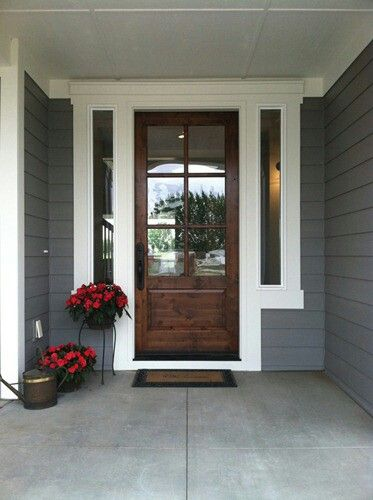 Exterior house color grey white wood door front doors for White wooden front doors